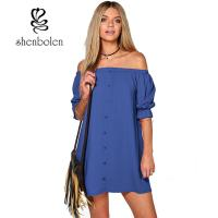 China Summer Casual Party Dress Strapless Sexy Women Beach Dress Solid Plus Size wholesale