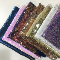 China Beautiful Printed Glitter Sequin Fabric 50D*75D Yarn Count 220gsm Plaid Style wholesale