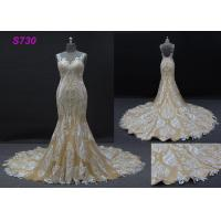 China Champange color sleeveless sheath mermaid wedding dress bridal gown wholesale