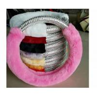 China Pink Fuzzy Steering Wheel Cover With Silver Plastic Diamond Customized Size wholesale