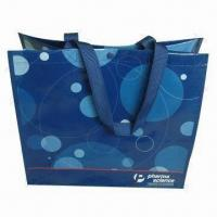 China Woven PP Shopping Bag with Piping, Nylon Webbing Handle, Lamination and Water-resistant wholesale