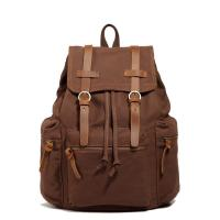 China Leather Strap And Trim Brown Canvas PU Bag School Bicycle Travel Backpacks wholesale