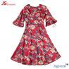 China 89D18026 New 15Dollor Summer Fashion V-Neck Half Sleeve Floral Print Women High Waist Beach Dress wholesale