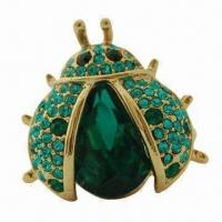 China Ladybug-shaped Ring, 18K Gold Plating, Decorated, Green/Glass Stones, Made of Zinc-alloy Material wholesale