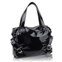 China PU Leather Black Leisure Handbags with rust prevention treatment lining wholesale