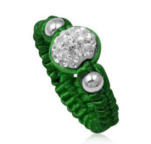 China Handmade Beaded Jewelry Olivine Crystal Shamballa Rings With Green Cord, White Disco Bead on sale