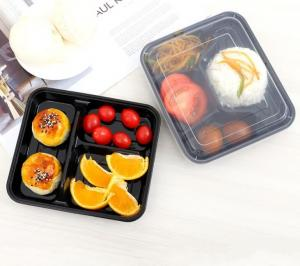 China 3 4 Compartment 100% Pp Black microwavable lunch box For Food Container wholesale