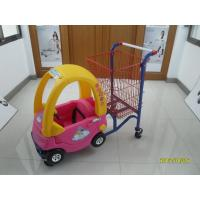 China 95L Low Carbon Steel / Plastic Children Shopping Cart With Red Powder Coating wholesale