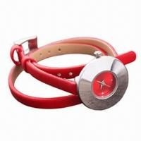 China Ladies' Promotional Watch, Alloy Case and Long Leather Strap, Interchangeable Watch Strap Any Time wholesale