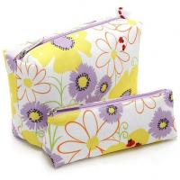 China 600x 300d Polyester Flower Patten Travel Toiletry Bag Heat Transfer Print Travel Wash Bag wholesale