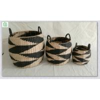 China 100% hand woven rush&paper  round storage basket , natrual + black color, wholesale