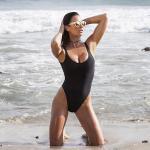 Black Retro Womens Swimming Suits High Cut Low Back One Piece Swimwear