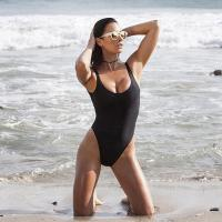 Quality Black Retro Womens Swimming Suits High Cut Low Back One Piece Swimwear for sale