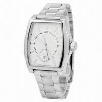 Buy cheap Men's Stainless Steel Watch with Calendar and Strap, 5ATM Waterproof from wholesalers