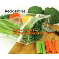 China Food Vegetable Storage Bag Airtight Zip Lock Bags, Clear Zip Lock Bags Zipper Poly Bags with Rectangle Unilateral 0.03 m wholesale