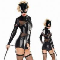 China Halloween costume with mask, whip, teddy dress and garter belt wholesale