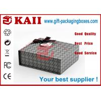 China Rectangle Gift Packaging Boxes With Magnetic Closure / Black Bow Ribbon wholesale