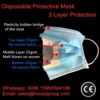 China 3 Ply Non Woven Face Mask Non Woven Disposable Protective masks Anti-Dust One Time Use Earloop Masks wholesale
