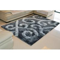 China 3D New Design Polyester Silk 2100G/SQM Grey Shaggy Carpet Area Rug(3116) wholesale
