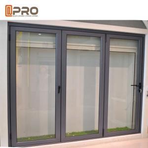 China Insulated Glass Accordion Aluminum Sliding Folding Door For Exterior Balcony glass partition folding door wooden folding on sale