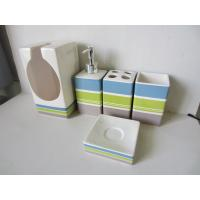 China Stripe Pattern 5 Piece Ceramic Bath Set , Bathroom Bath Accessories With Toilet Paper Holder on sale
