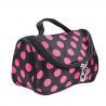 China Women Satin Dot Pattern Cosmetic Bag Travel Toiletry Bag With Dual Zipper wholesale
