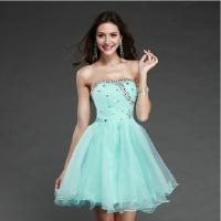 China Promotion Sexy Beaded Sweetheart Short Prom Dresses 2014 Sky Blue Knee-length Fashionable Ball Gown Vestido De Festa on sale