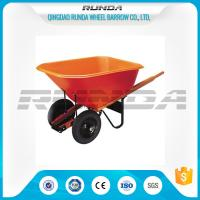 China Platic Tray Material Heavy Duty Wheelbarrow 180kg Load Wooden Handle Farm Tools wholesale