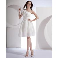 China White Satin Single Shoulder Wedding Dresses Knee length Gowns for Ladies on sale