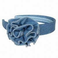 Buy cheap Denim Headband with Flower, OEM and ODM Orders are Accepted from wholesalers