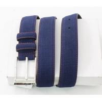 China Navy Embossed Suede Leather Belt Customized Logo Stamped With Pin Buckle wholesale