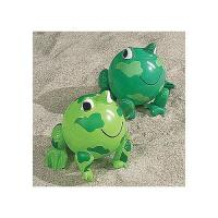 "China PVC Green Frog Beach Toys Inflatable Animal Beach Balls 10"" Overall Size Measures 14"" wholesale"