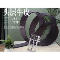 China Customized Adjustable Prong Buckle Real Leather Belt In Dark Brown Color wholesale