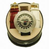 China Jewelry Watch with 2-piece Strap and Fake Stone on Case and Dial, Hip-hop Hot Sale Style wholesale