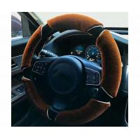 China Non Smell Fuzzy Car Steering Wheel Covers Easy To Install Coffee / Black Color on sale