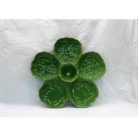 China Ceramic 5 Part  Snacks Plates Dolomite Cabbage Leaf Design Green Candy Decoration Plates wholesale