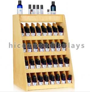 China Birch Wooden Display Racks Countertop 240 Bottle Essential Retail 4-Tier Display Rack wholesale