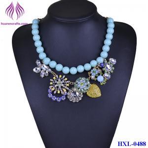 China Fashion Bead chain Crystal Flower Bib  Statement Chunky Necklace Collar on sale