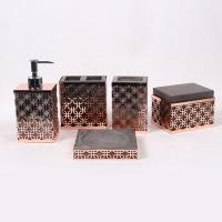 China Gold Concrete Toothbrush Holder With Metal Mesh / 5 Pcs Resin Bathroom Set on sale
