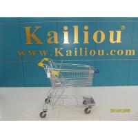 China 130L Supermarket store Metal Shopping Cart With Curve Handle and swivel flat casters wholesale