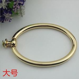 China Unique fashion handbag hardware light gold metal circle handle for tote bag wholesale