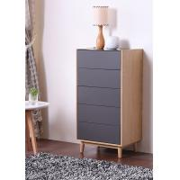 China Solid Wood + Melamine Modern Bedroom Furniture Sets / 5 Drawer Chest with Grey Color wholesale