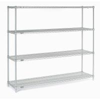 China Retail Store Storage Metal Wire Shelving  ,  Four  Tier Standing Display Rack With Wheels on sale