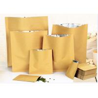 China Zip Lock White Kraft Paper Pouch , Stand Up Zipper Pouch Bags With Matte Window wholesale
