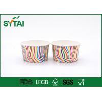 China Stripe Pattern Paper Ice Cream Cups , Disposable Ice Cream Cups Customized wholesale