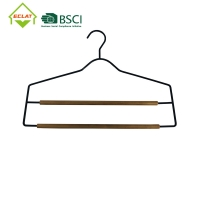 China 2 Layers Trouser Solid Wood Hangers , Metal Wooden Pant Hanger With Locking Bar wholesale
