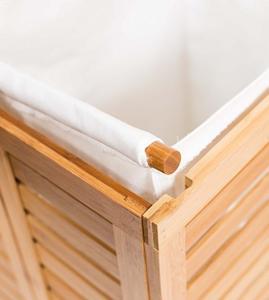 China Durable Bamboo Home Furniture Wood Double Laundry Hamper Clothing Organizer wholesale