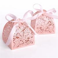 China Wedding Small Candy Boxes , Pink Color Mini Paper Gift Box Offset Printing wholesale