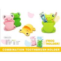 China TOOTHBRUSH & TOOTHPASTE HOLDER - FROG DESIGN - 3 ASSORTED COLOR wholesale