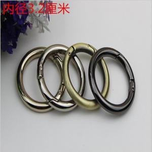 China Wholesale nickel 32mm diameter easy open metal spring gate o ring carabiner O ring wholesale